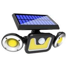 solar led light outdoor Three-Head Rotatable Waterproof Human Body Sensing Courtyard Street Lamp