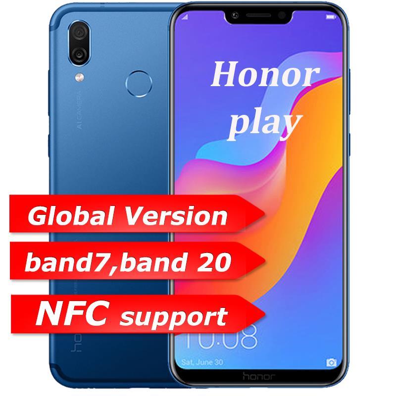 Honor Play 4G 64G 6.3 polegada do telefone móvel Núcleo Octa Telemóvel Dual Câmera Traseira jogo do telefone Impressão Digital face ID
