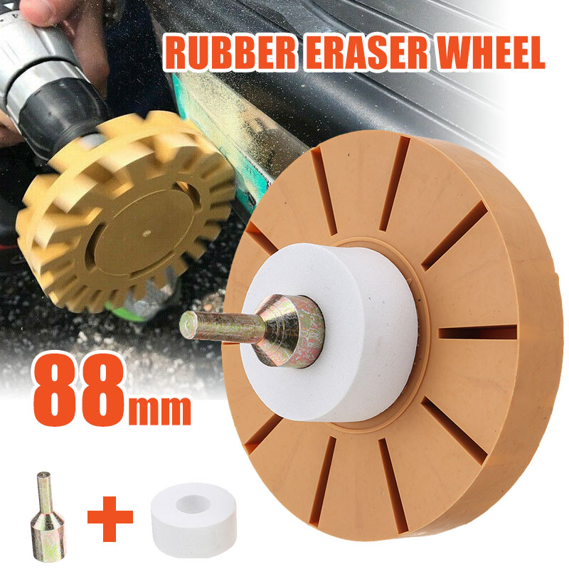 """Decal Remover Eraser Wheel Kit W//4/"""" Rubber Power Drill Removing Stickers Decals"""