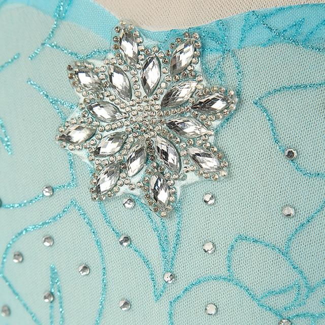 Fantazyjne sukienki dla małej księżniczki dla dziewczynek Elsa kostium Bling kryształ syntetyczny stanik Elsa Party Dress dzieci królowa śniegu Cosplay