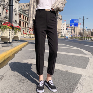 Image 4 - Pantalon crayon pour femmes, pantalon de bureau, taille haute, longueur cheville, bleu, Beige, noir, Harem, automne et printemps 2019