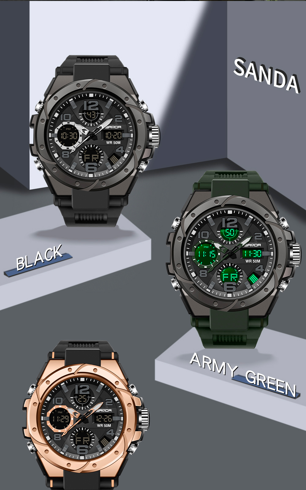 H32a6c5a1323d462fa9244c58fd5d5f5bF SANAD Top Brand Luxury Men's Military Sports Watches 5ATM Waterproof