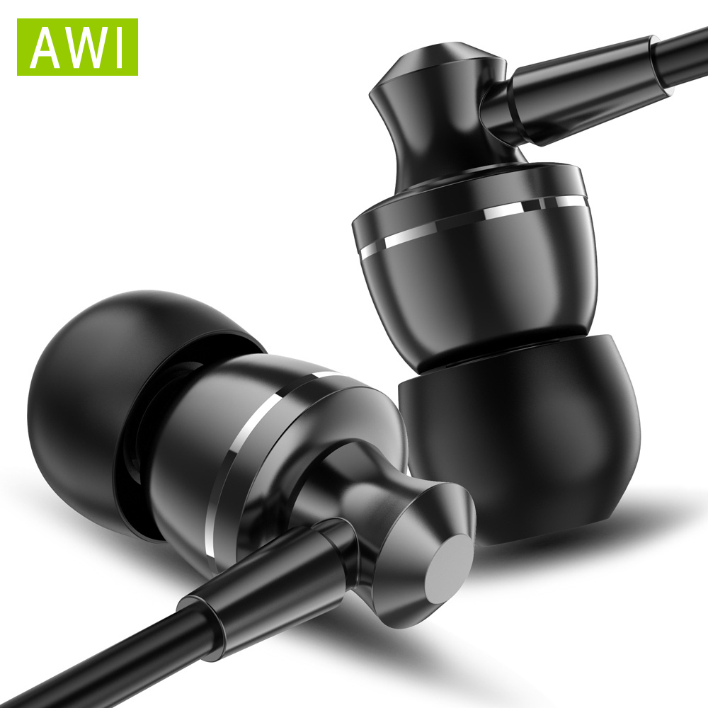 AWI D11 Audio Sport Earphone Super Bass Headphones with Mic Wired Running Earbuds fone de ouvid Gaming Headset for Iphone Xiaomi image