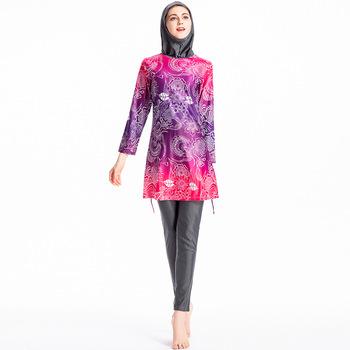 TaoBo 3 sztuk różowy nadruk muzułmański strój kąpielowy z długim rękawem islamski strój kąpielowy S-4XL strój kąpielowy kobiety islamski Habit Femme Burkinis tanie i dobre opinie LEOSOXS NYLON Pasuje prawda na wymiar weź swój normalny rozmiar