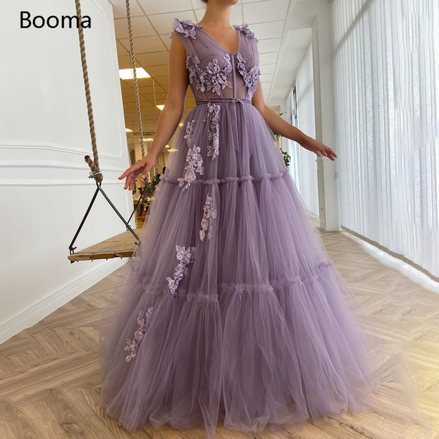 Booma V-Neck Purple Prom Dresses Sequin Appliques Exposed Boning A-Line Prom Gowns Sleeveless Tiered Tulle Formal Party Dresses 1