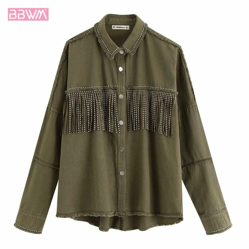 2109 Autumn New Tassel Rivet Single-breasted Women's Jacket Tops Vintage Frayed Lapel Long Sleeve Army Green Denim Female Coat
