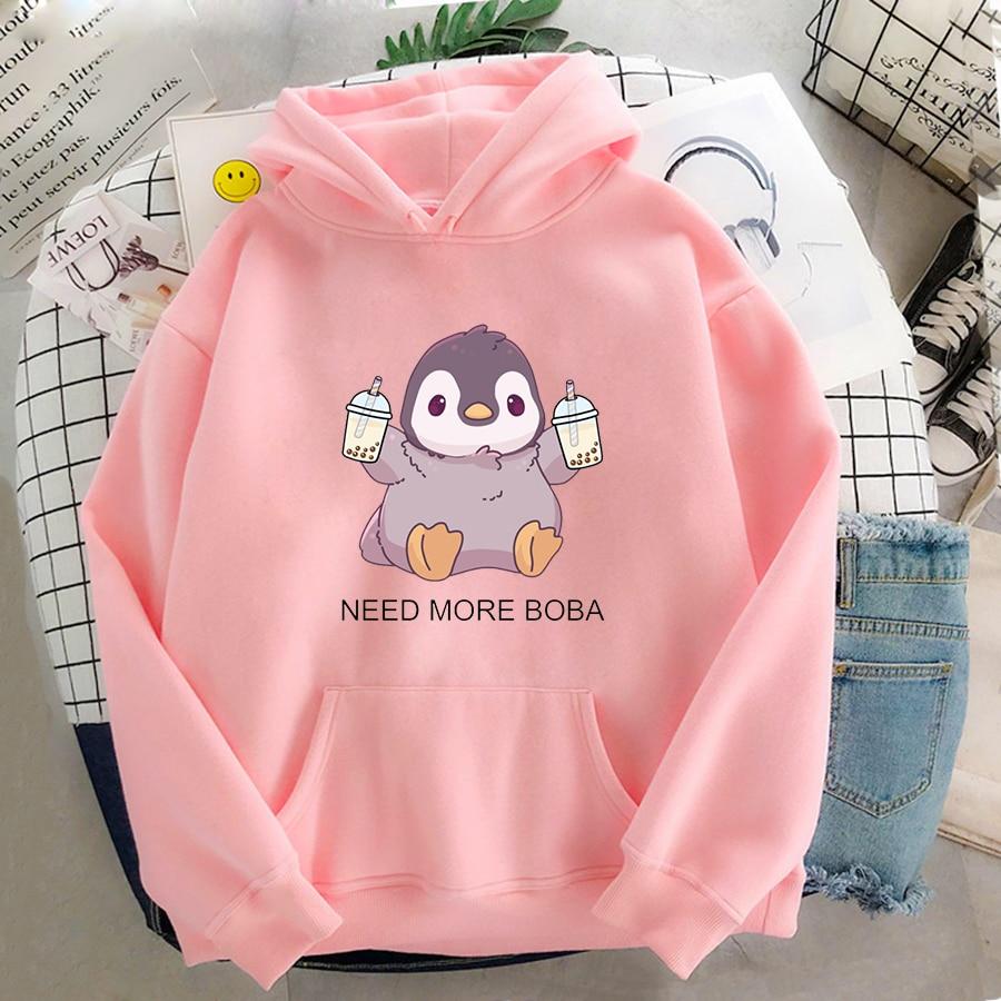 Cute Penguin Boba Tea Hooded Sweatshirt Harajuku Hoodies Lovely Kawaii Casual Hoody O-Neck Women's Hoodie 11
