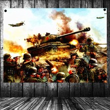 WW2 GER Panzergrenadier vs Russian Tank Battle Scene Military Posters Flag Banner Tapestry Mural Vintage Decor Upholstery(China)