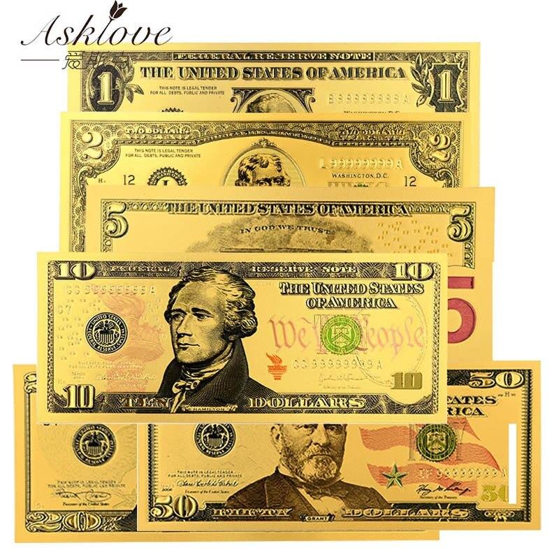 10 шт., купюры в долларах США, поддельные деньги, 24 К, Золотые Фольга, банкноты, 1 2 5 10 20 50 долларов, сувенирная коллекция, подарки, поддельные деньги в обмен
