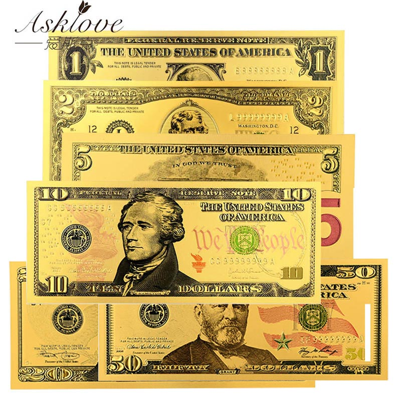 10PCS USD Dollar Bills Fake Money Gold Foil Banknotes 1 2 5 10 20 50 Dollars Souvenir Collection Gifts Fake USD Currency Money