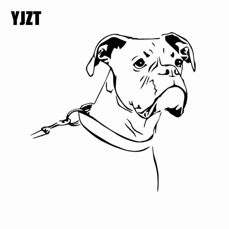 YJZT 15.6X15.2CM Cartoon Boxer Dog Funny Car Sticker Pet Animals Vinyl Decal Black/Silver C24-1124