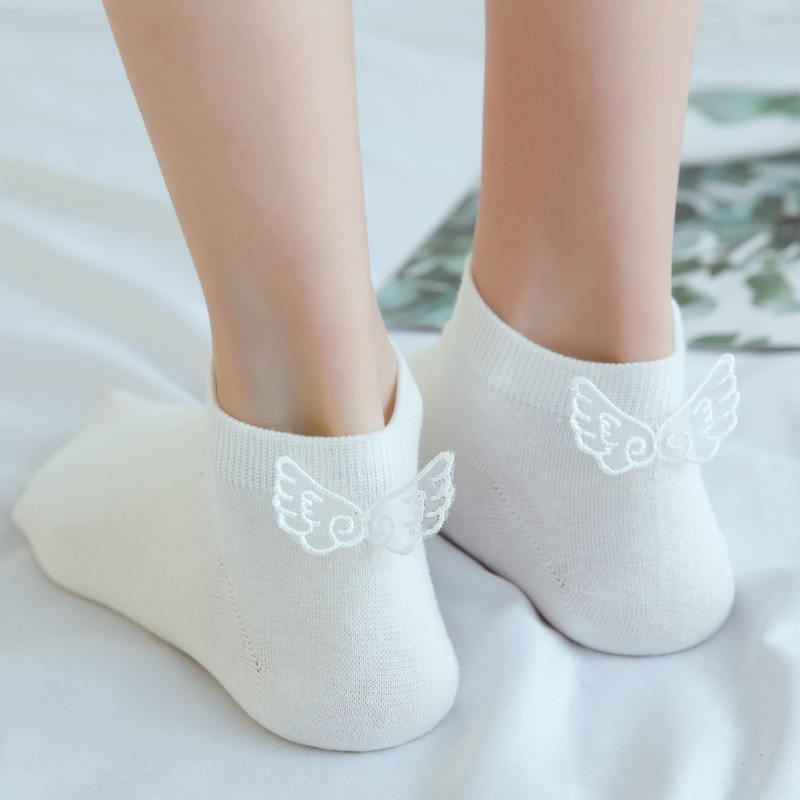 Stereoscopic Wing Socks Women Cotton Pure Monochrome Lovely Shallow-mouth Boat Socks Casual Butterfly Knot Female Funny Socks