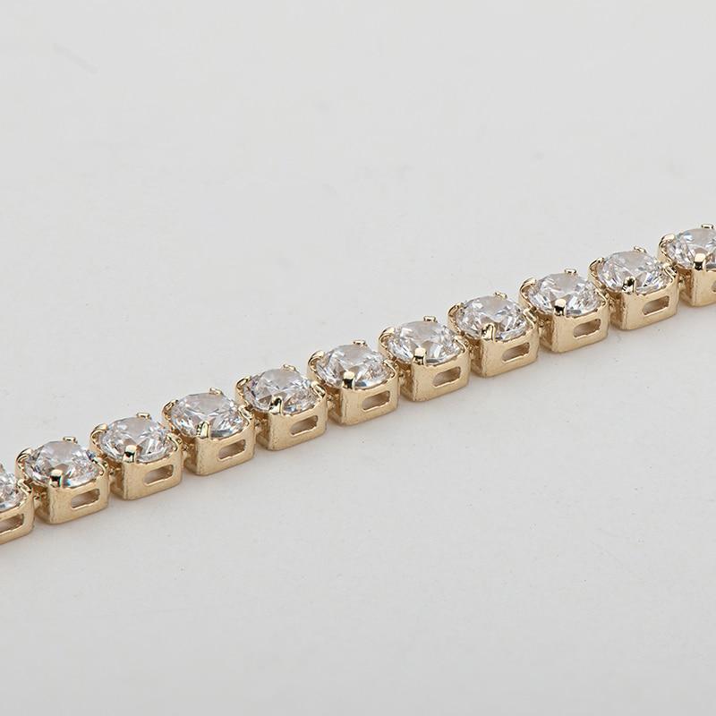 "AINUOSHI 14K Yellow Gold 2.1mm Round Cut SONA Diamond Trendy Tennis Bracelet for Women Hip Hop 1 Row Charm Bracelet Jewelry 7"" 2"