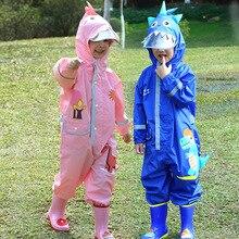 Cute Dinosaur Style Baby Jumpsuits Rain Coat Waterproof Polyester Raincoat Children Rainwear And Rain Pants Suit For Kids