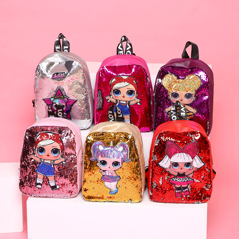 LOL Surprise Doll New Children Sequins Tide Laser Sequins Backpack Double Zipper Small Fresh Cute Bag For Kids Festival Gift2C23