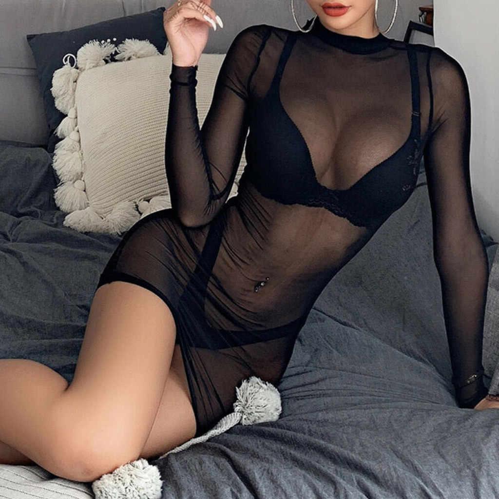 S-5XL גדול גודל נשים סקסי הלבשה תחתונה נשים Sheer Mesh ראה דרך ארוך שרוול יבול חולצות מקרית Clubwear מיני שמלת הלבשת # f