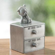 Boîte à souvenirs en forme d'ours de dessin animé pour bébé, boîte de rangement moderne et Simple à tiroir, cadeau créatif pour enfants, boîte de dentition en métal