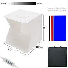 מתקפל Lightbox צילום 40*40 תמונה סטודיו Softbox פנל LED אור רך תיבת תמונה רקע ערכת תיבת אור עבור DSLR מצלמה