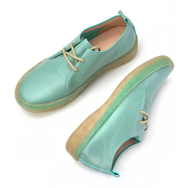 Donna in Spring Soft Lace up Women Shoes Flat Genuuine Leather Comfortable Casual Concise Footwear Women