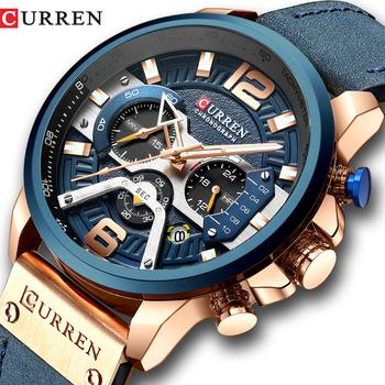 CURREN Casual zegarki sportowe dla mężczyzn niebieski top marka luksusowy skórzany wojskowy zegarek na rękę człowiek zegar moda zegarek na rękę tanie i dobre opinie 24cm Moda casual QUARTZ 3Bar Klamra Stop 14mm Hardlex Kwarcowe Zegarki Na Rękę Skóra 48mm 8329 24mm ROUND Kompletna kalendarz