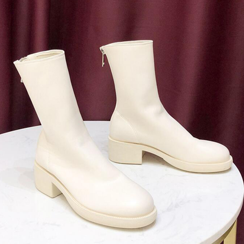 Модные женские ботинки, повседневные кожаные ботинки на платформе, белые теплые ботинки, женские ботильоны с острым носком на резиновой подошве, c922|Полусапожки|   | АлиЭкспресс - Женская обувь