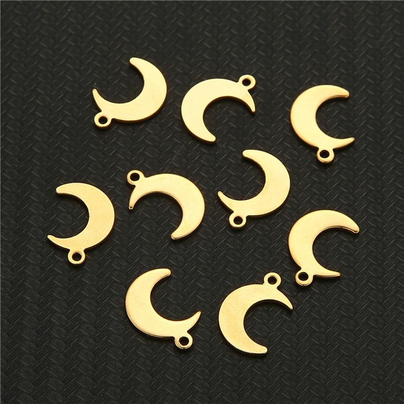 10 шт./лот подвески из нержавеющей стали в форме Луны подвески в форме Луны для самостоятельного изготовления ожерелья браслета ювелирных из...