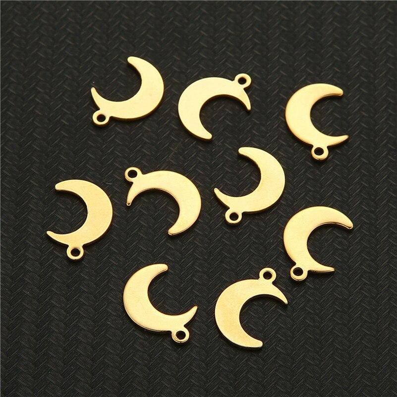 Pingentes em forma de lua 10 pçs/lote, pingentes de aço inoxidável em forma de lua para colar diy, acessórios para fazer jóias e pulseira