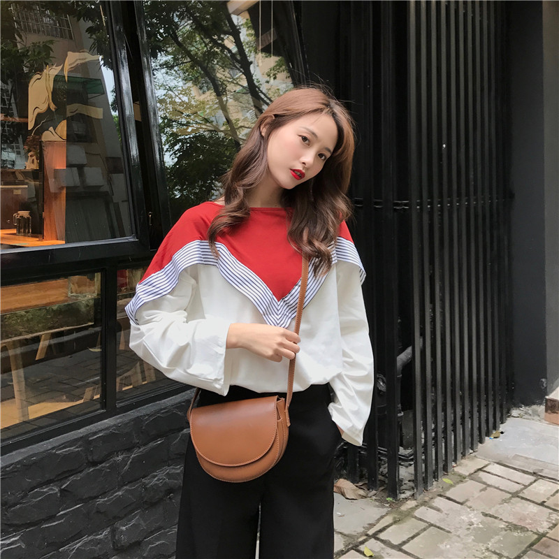 Mr nut2019 autumn new stitching striped color matching long sleeved shirt women can wear loose large size women 39 s clothing in Blouses amp Shirts from Women 39 s Clothing