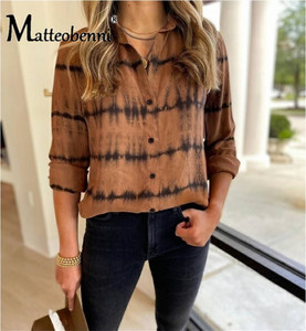 2020 Spring Autumn Women Dye Print Blouse Shirt Female Tops Long Sleeve Casual V-Collar Streetwear Style Women Loose Blouses