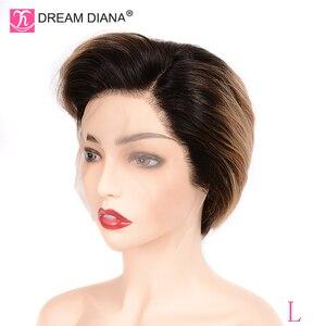 """Image 4 - DreamDiana Ombre Wigs บราซิล Remy 13x4 ลูกไม้ด้านหน้าวิกผม Ombre วิกผมลูกไม้ 8 """"150 ความหนาแน่น 100% มนุษย์ลูกไม้ด้านหน้าด้านหน้าวิกผมต่ำอัตราส่วน"""