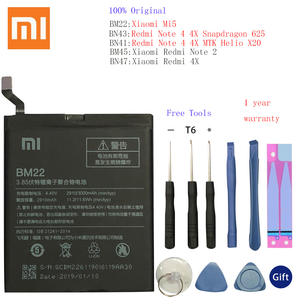 BM45 BM47 BN43 BM22 BN41 <font><b>Battery</b></font> For <font><b>Xiaomi</b></font> Redmi 3 3S 3X <font><b>4</b></font> Note 2 Note <font><b>4</b></font> Note 4X Original <font><b>Battery</b></font> For <font><b>Xiaomi</b></font> <font><b>MI</b></font> 5 <font><b>Batteries</b></font> image