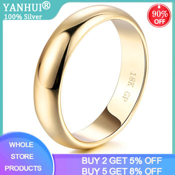 YANHUI Simple Design Couple Round Rings 18K White/Yellow/Rose Gold Fashion Wedding Bands Jewelry For Men&Women Lover Hot Sale - discount item  90% OFF Fine Jewelry
