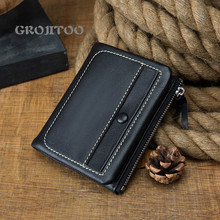 GROJITOO Handmade wallet women and men's leather short ultra-thin vertical wallet calf leather comfortable wallet men's bag