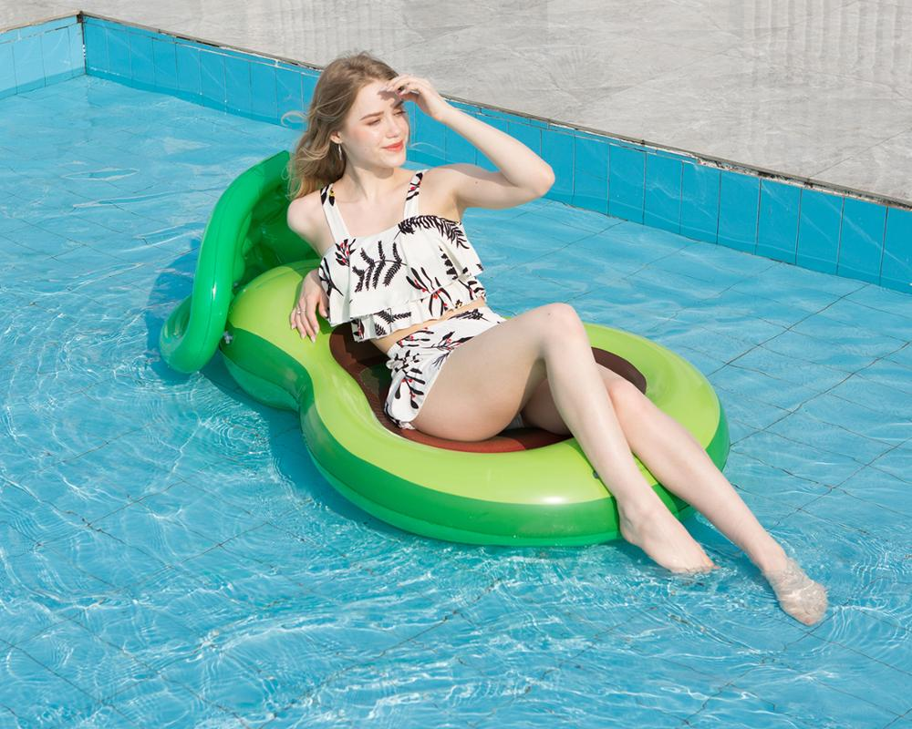 Inflatable avocadoWater adult recliner inflatable net floating Swimming Mattress sea swimming ring Pool Party Toy lounge bed swi 5