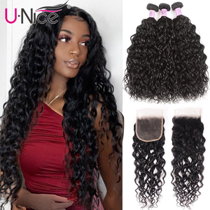 Unice Hair Water Wave Human Hair 2/3 Bundles With Closure Mongolian Remy 3 Bundles With Closure Natural Color 8-26inch