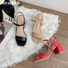 Aneikeh-Sandalias De PU para mujer, zapatos De tacón cuadrado, informales, poco profundos, básicos, con correa De hebilla, color rojo sólido, 2021