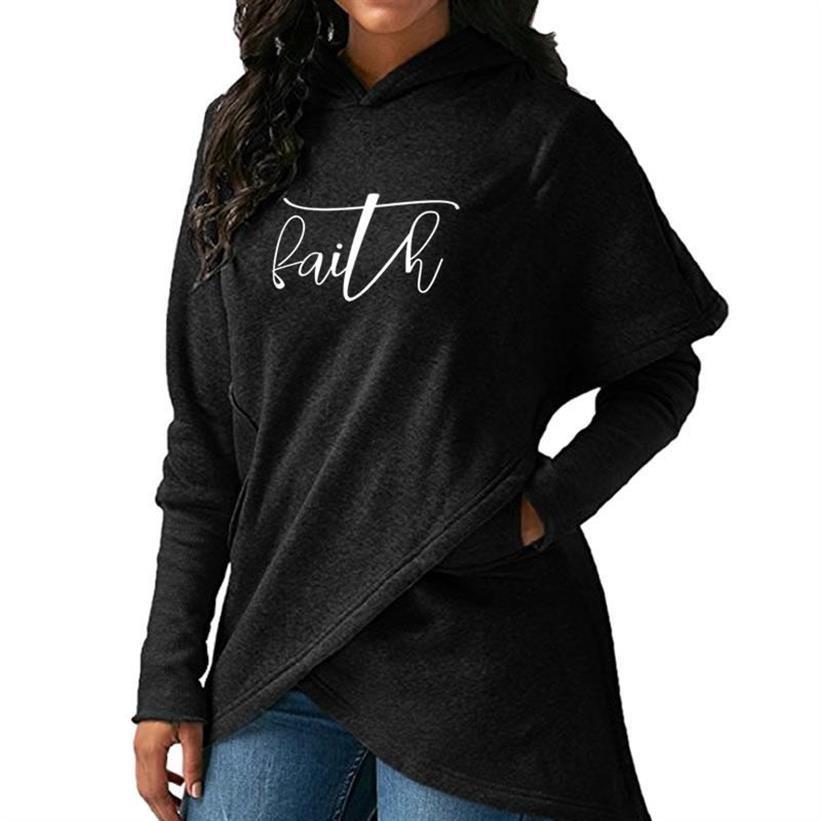 Faith Letters Print Split Hoodies For Women Harajuku Sweatshirts Tops Hoodies Printing Loose Thick Girls Comfortable Buckle