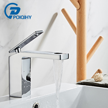 POIQIHY Chrome Basin faucet ORB Black Deck Mounted Bathroom Faucet Single Handle Hot Cold Water Basin Vanity Sink Mixer Taps