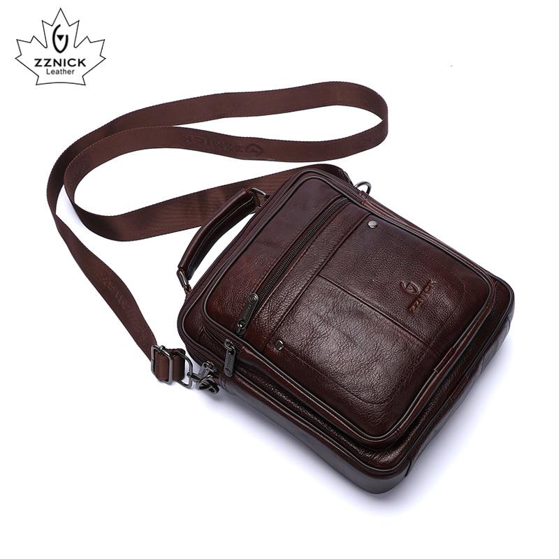 Men's Messenger Bag Genuine Leather Male's Crossbody Bag Vintage Men Big Bags Zipper Shoulder Handbags Flap Leather Bags ZZNICK
