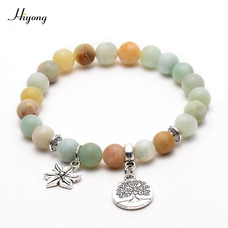 HI YONG Matte Amazonite Stone Meditation Bracelets Tree Of Life Round Prayer Yoga Mala Beads Bracelet Chakra Charm Bangle Gift