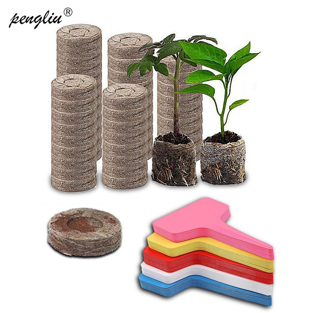 100 шт 40 мм Jiffy торф гранулы блоки грунта под рассаду с 50 этикетками бонсай стартер роста семян для выращивания саженцев|Детские горшки| | АлиЭкспресс