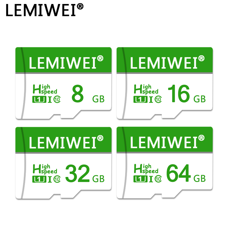 Lemiwei Memory Card 64GB 32GB 16GB 8GB With Adapter Trans Flash Card High Speed TF Card Compatible With Phone