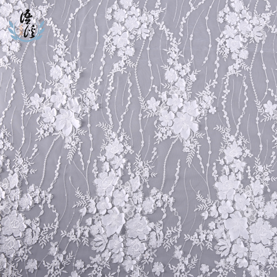 5 Yards New Three Dimensional Pattern Embroidery Cloth Laser Embroidered Lace Mesh Cloth Dress Wedding Dress Embroidered Fabric