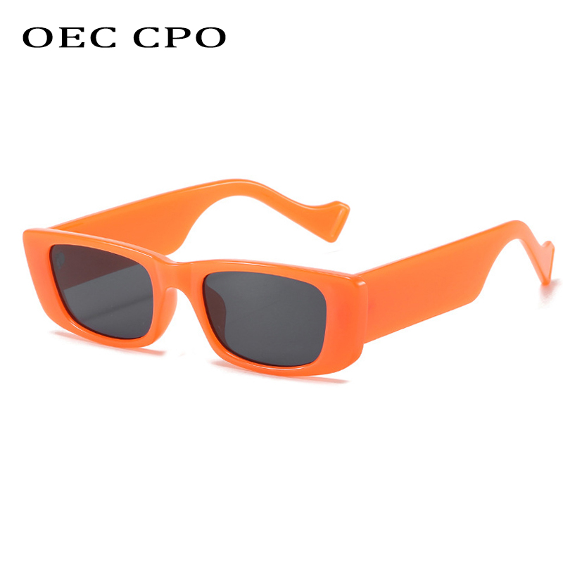 OEC CPO-gafas De sol cuadradas Retro para mujer, anteojos De sol femeninos pequeños, rectangulares, Sexy, naranja, para hombre