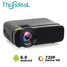 Thundeal 네이티브 720 p 미니 프로젝터 블루투스 안 드 로이드 6.0 wifi 비머 td30 최대 led hd 비디오 hdmi vga 영화 wifi 3d proyector