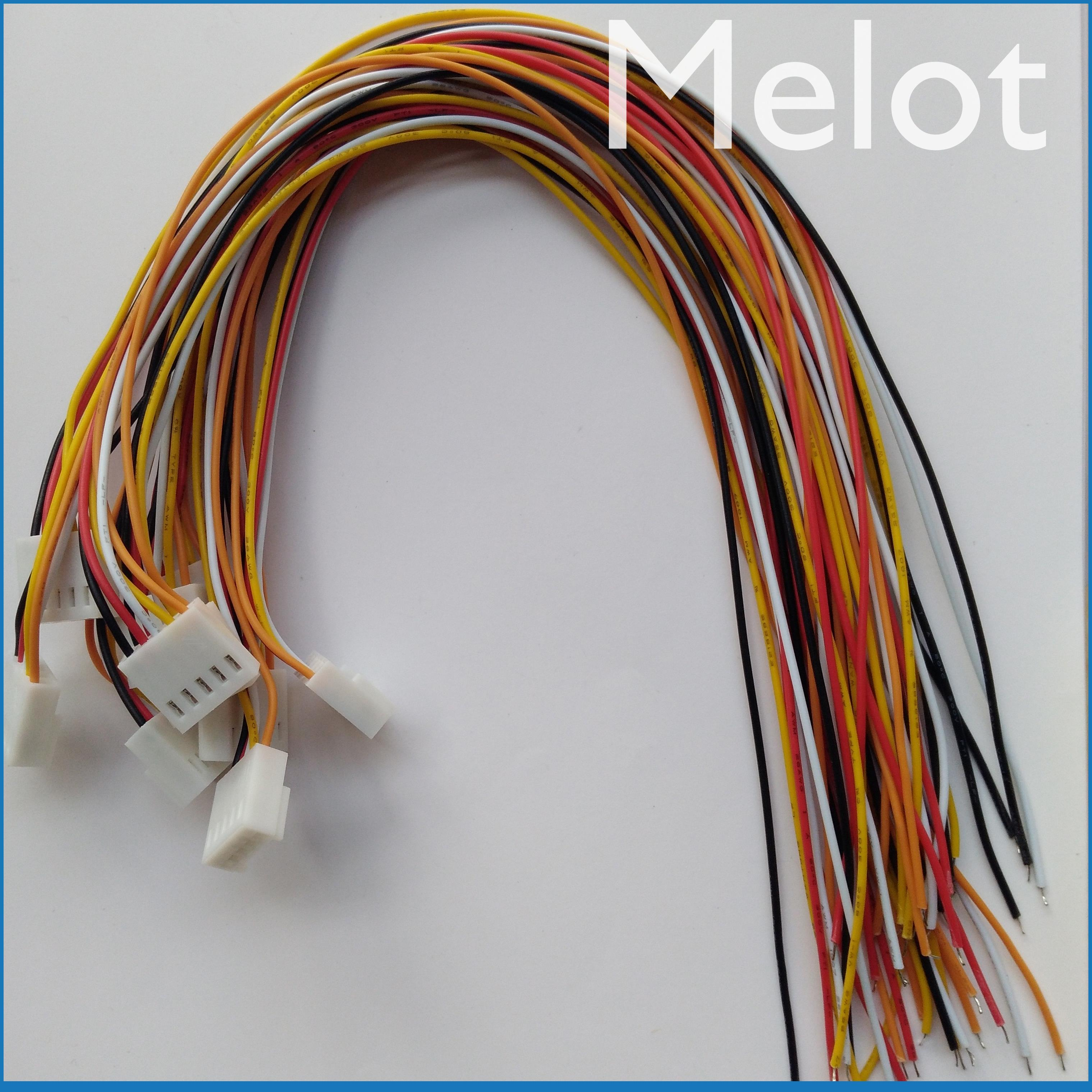200 Pcs 2510 2.54mm Pitch 5 Pin Female Connector with 26AWG 300mm Leads Cable