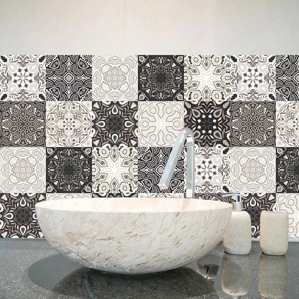 gray beige floral backgrounds hard floor tiles wall sticker kitchen bathroom home decor poster peel stick ground art mural