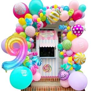 New! 40 Inch Rainbow Gradient Digital Balloons Kids Birthday Decor Ice Cream Candy Lolipops Balloon Gift Donut Party Supplies