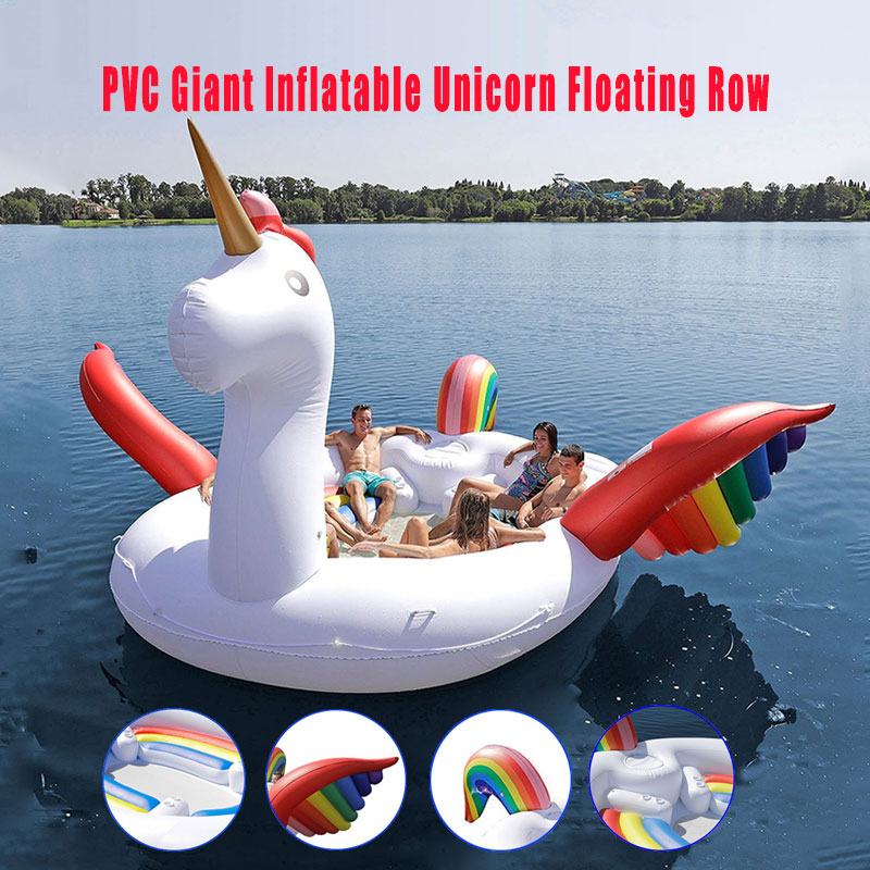 Water Toy Floating Row PVC Giant Inflatable Unicorn Float Party For 6-8persons Big Animal Boat Floating Row