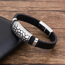 TYO Fashion Charm  Stainless Steel Magnet Black Leather Men's Bracelet Jewelry Geometric Punk Gift For boyfriend недорого